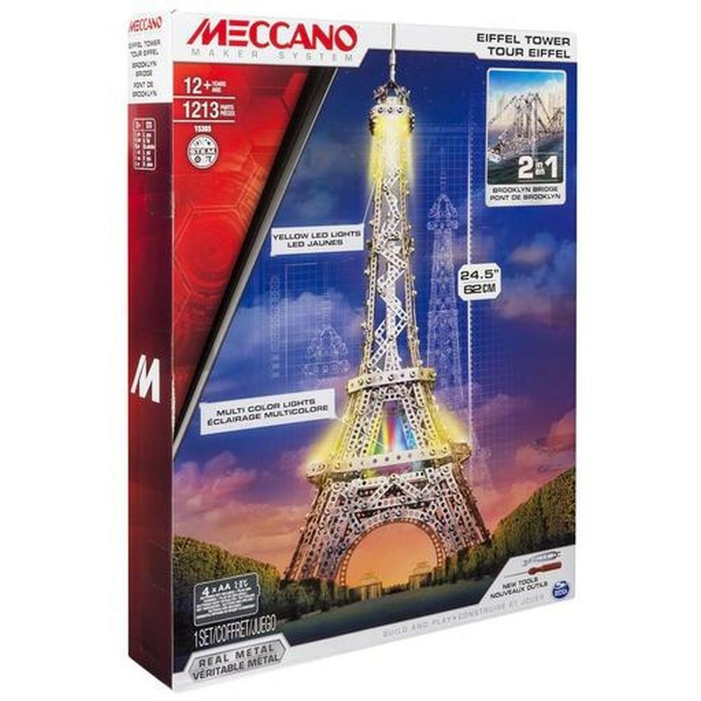 2 in 1 MECCANO EIFFEL TOWER and BROOKLYN BRIDGE NY 1213 parts STEM NEW SEALED