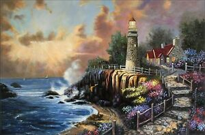 Quality-Hand-Painted-Oil-Painting-Seaside-Peaceful-Light-24x36in