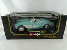 Burago 1957 Chevrolet Corvette White Red Diecast Car - 1 18
