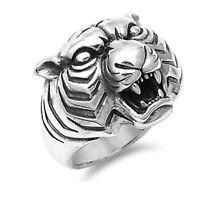 Men's Tiger Sterling Silver Biker Ring - Sizes 7-13