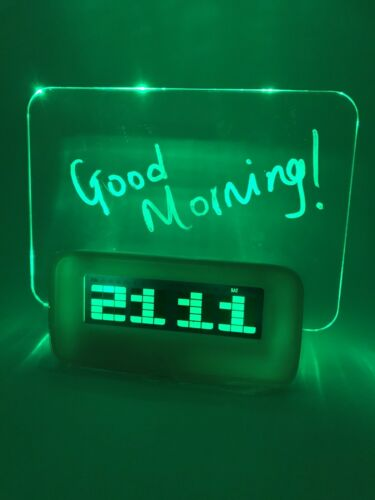 temperature Details about  /Digital Green LED unique alarm clock personalised msg date tones