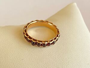 Eternity Band 14K Rose Gold and Garnet Ring Size 7 1/4