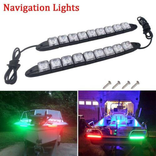 2pcs LED Boat Signal Nav Navigation Light Strip Waterproof Starboard Port