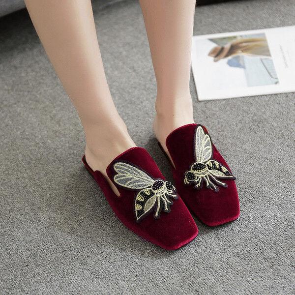 Zapatillas Zapatillas Zapatillas elegantes zuecos rojo terciopelo suela cómodo como piel 9919  tienda en linea