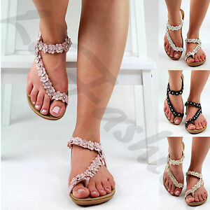 a1c987b2c1d New Womens Flat Sandals Ankle Strap Toe Post Flower Embellished ...