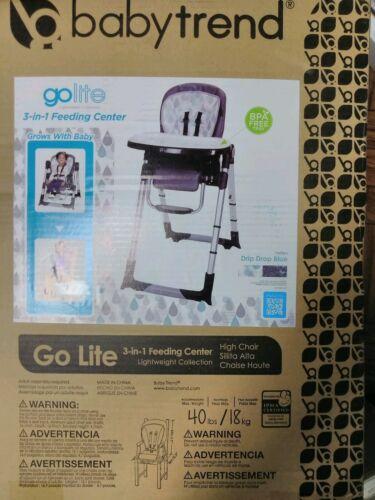 Drip Drop Blue NEW Baby Trend Go-Lite 3-in-1 Feeding Center