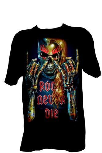 Rock Chang print T-shirt 100/% cotton HD 3D rocker flames skull motorbike tattoo