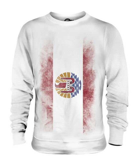 FRENCH POLYNESIA FADED FLAG UNISEX SWEATER TOP POLYNÉSIE FRANÇAISE POLYNESIAN