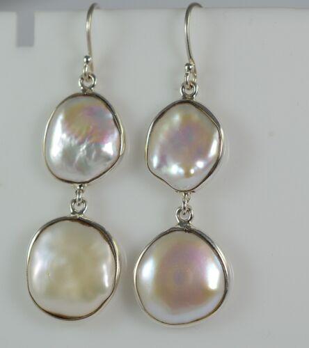 Eau fraîche Coin pearl 925 Solid Sterling Silver Handmade Dangle Boucles d/'oreilles pendantes