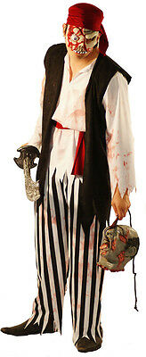 Halloween-Scary-Horror-Evil ZOMBIE PIRATE  Fancy Dress Costume  Sml-XXXXL