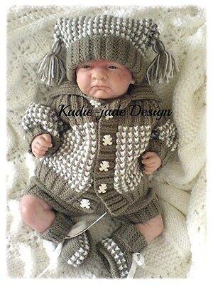 Knitting Pattern #76 (INSTRUCTIONS) Boys Cardigan Set for 6-9m Baby