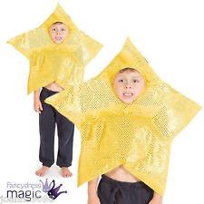 CHICOS CHICAS CHILDS Deluxe Gold Star Natividad la escuela desempeñan Fancy Dress Costume