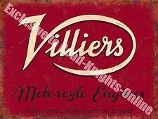 Villiers Motorcycle Engines, 110 Old Vintage Garage Spares Medium Metal/Tin Sign