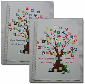 Geschenk-Schulanfang-Einschulung-1-Schultag-Gaestebuch-Fotobuch-Buchstabenbaum