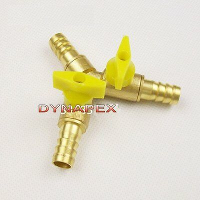 """Clamp Tee Brass Y 3-Way Shut off Ball Valve Fitting Hose Fuel Gas 3//8/"""" 10mH*bMFS"""