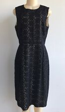 NWOT $1275.00 Max Mara Italy Elegante Pianoforte Black Lace Nude Lined Dress  14