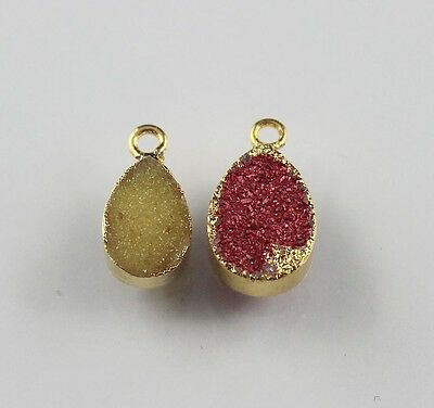Fantastic Natural Agate Druzy /& Solar Quartz 24k Gold Plated Connector Jewelry