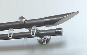 Doppelte-Vorhangstange-034-Cut-034-20-mm-Innenlauf-Edelstahl-Optik-mit-Gleitern