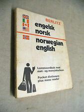 Vintage PAPERBACK Book - 1974 ENGLISH - NORWEGIAN POCKET DICTIONARY Berlitz