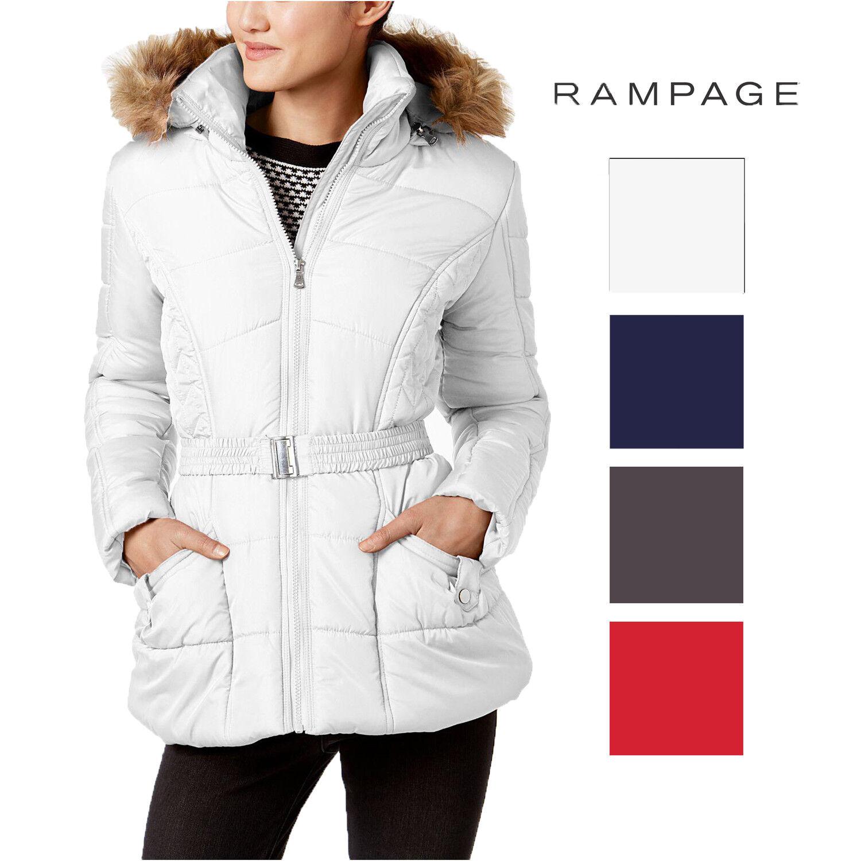 Rampage Juniors' Faux-Fur-Trim Belted Puffer Coat