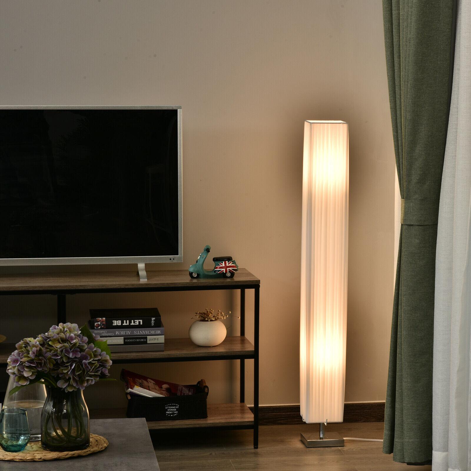 Picture of: Homcom 4 Tall Floor Lamp Modern Fabric Light Living Room W Stainless Steel Base For Sale Online Ebay