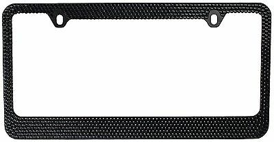 7Rows Black Bling Diamond Crystal Rhinestone License Plate Frame w/ 2 Screw Caps