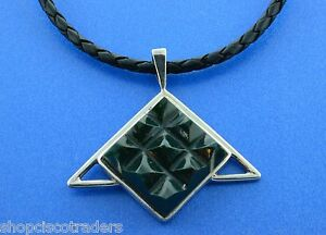 Unisex-Tourmaline-Triangle-Necklace-Leather-Braid-Cord-Sterling-Silver-Clasp