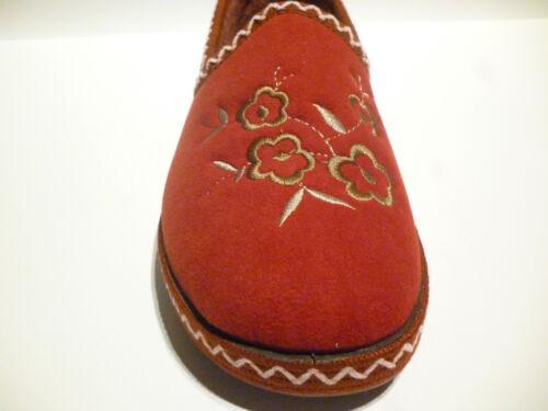 Zapatillas de mujer durmientes azafrán vino Zig Zag puntada Floral Motivo Slip On £ 12.99
