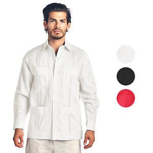 Men-039-s-Premium-Cuban-Beach-Long-Sleeve-Button-Up-Linen-Guayabera-Dress-Shirt