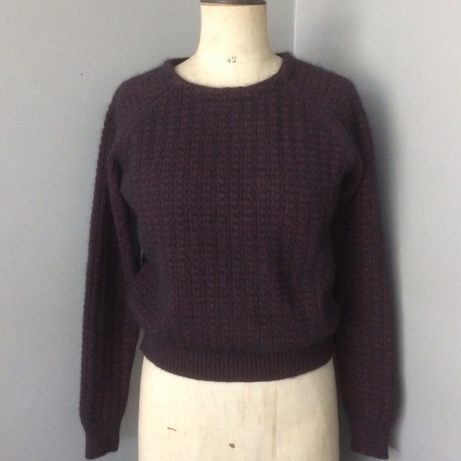 'TOPSHOP BOUTIQUE' Plum Angora Textured Knit Jumper RP