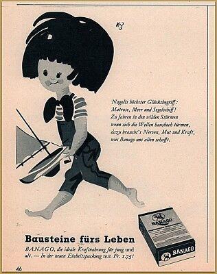 Advertising-print 1953 Poem Print Ad Banago Beverage 60's Style Art Little Girl Sailboat Merchandise & Memorabilia