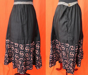 Vintage-Victorian-Black-Cotton-Calico-Colorful-Pink-Spiral-Print-Petticoat-Skirt