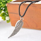 1PC Men's Women's Angel's Wing Silver Pendant Necklaces Black Wax Rope Chain