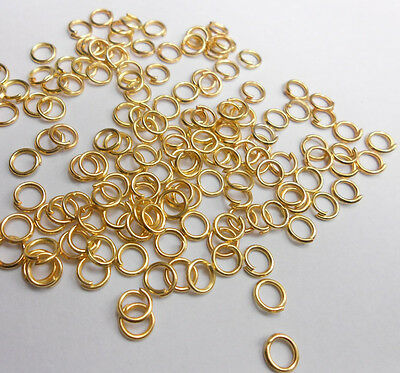 2000X 4MM  Design Making Jewelry Findings 18K GOLD Plate Jump Rings