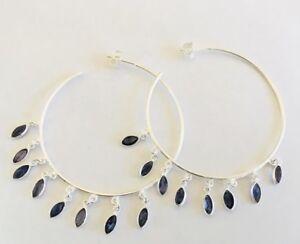 925-Sterling-Silver-Large-Hoop-Earrings-50mm-Iolite-Gemstone-Natural-Faceted