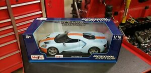 2017-Ford-Gt-Azul-Con-Franja-Naranja-Die-Cast-Maisto-Special-Edition-1-18-Escala