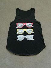Sunglasses Print Girl Women's t Shirt Tank Top Black
