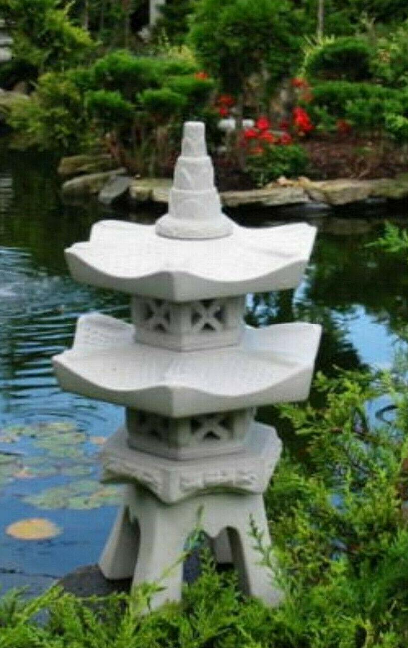 Steinlaterne 45 cm hoch Pagode Laterne Teich Koi Granitoptik  Nr 45
