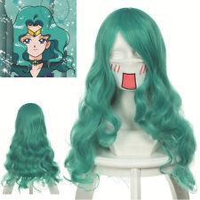 "sale  25.6""  (65cm) Curly Wavy Green Sailor Moon Neptune  Cosplay Wig"