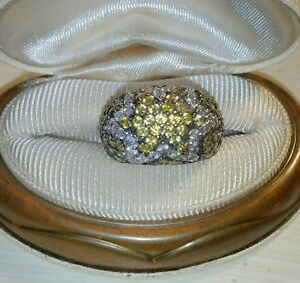 Ross Simons Sterling Silver Pave Cz Cluster Green Yellow