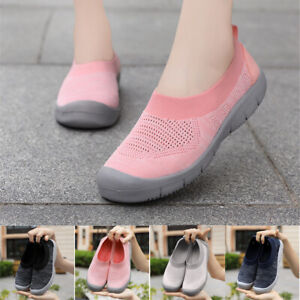 Women-039-s-Middle-aged-Mesh-Flying-Woven-Mother-Shoes-Breathable-Sport-Shoes-Flats