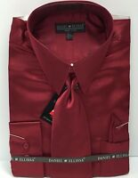 Men's Shiny Satin Dress Shirt Burgundy With Tie, Hanky, Convertible Cuffs 16 1/2