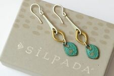 """Silpada Sterling Silver Patina Brass """"Fresco"""" Earrings W3155"""