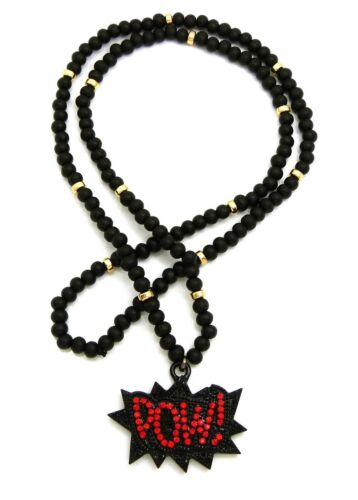 """Hip Hop Stone Filled POW Pendant 6mm 30/"""" Wooden Bead Fashion Necklace"""