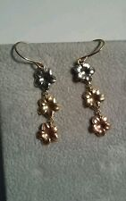 Pair Of 14k Gold Tri Color Dangle Flowers Pierced Earrings