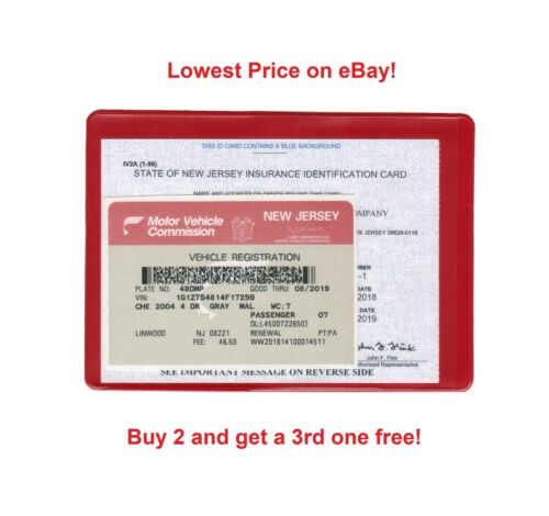 1 AUTO CAR TRUCK INSURANCE REGISTRATION ID CARD CASE WALLET HOLDER RED one
