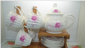 Bone China,13Pieces Set The butterfly lingers over the flower Printed Ceramic O2