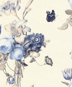 Rasch-Tapete-Barbara-Home-527643-Flores-Mariposas-Papel-Pintado-Fieltro