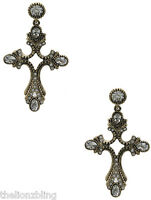 Vintage Style Aged Finish Gold With Crystal Bling Cross Earrings 2 1/4 Drop