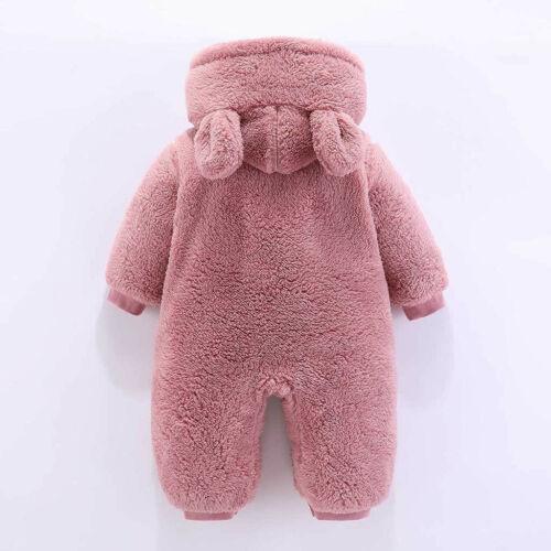 Winter Newborn Baby Girl Boy Warm Fleece Hooded Romper Bodysuit Jumpsuit Clothes